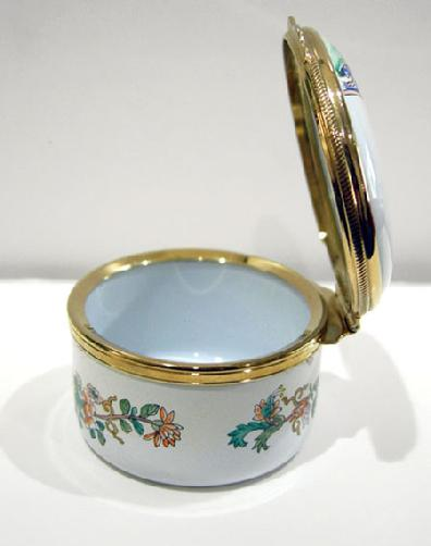 Vintage Staffordshire Enamel Asian Inspired Floral Trinket Box - Original Box and Documentation - View of the Left Side