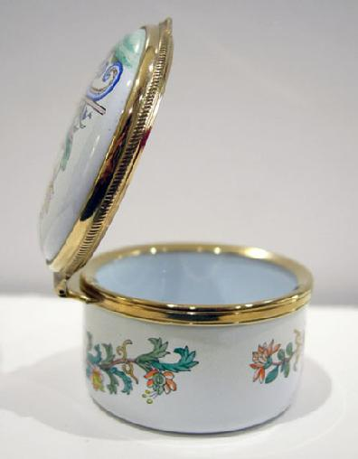 Vintage Staffordshire Enamel Asian Inspired Floral Trinket Box - Original Box and Documentation - View of the Right Side
