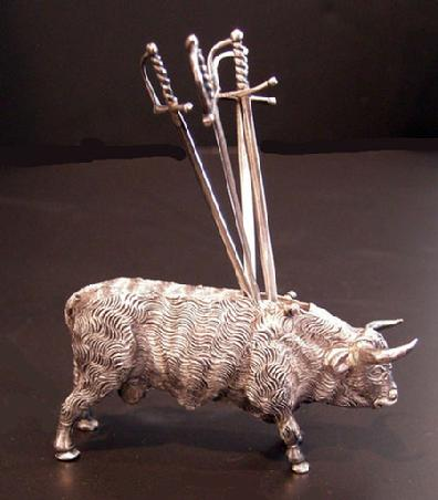 Mexcian Sterling Silver Bull and Swords Hors D'oeuvres Server - Side View