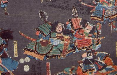 Antique Japanese Woodblock Print Diptych- Toyokuni III/Utagawa Kunisada - 1852 - Battle Scene - Closeup View