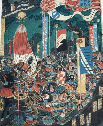 Antique Japanese Woodblock Print Diptych- Toyokuni III/Utagawa Kunisada - 1852 - Battle Scene - Right Panel
