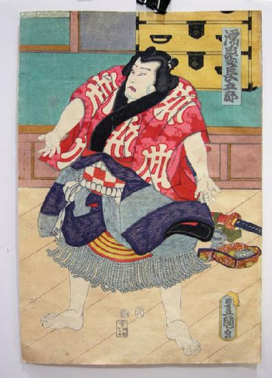 Antique Japanese Woodblock Print Diptych - Toyokuni III - 1857 - SUMO - Sheet 2