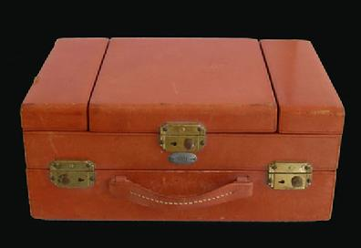 BOYLE Leather Ladies Train Case - 1920's-30's Fitted with Necessities - Front View