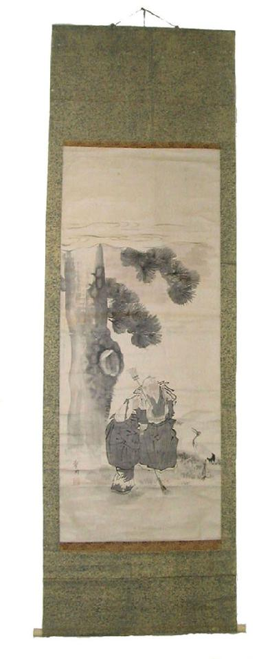 Large Antique Japanese Scroll - Takasago - Jo and Uba - Full View