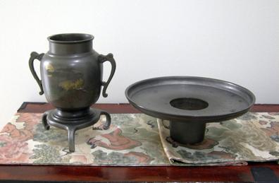 Large Antique Japanese Bronze/Mixed Metal Usabata-Meiji Period - Two-Piece View