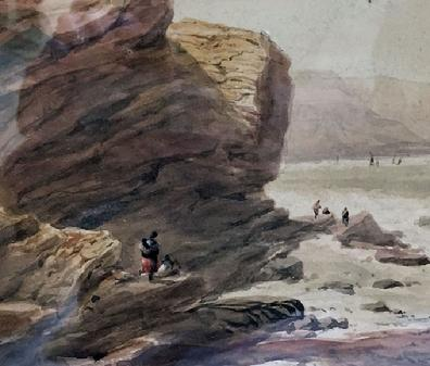 Antique Watercolour Painting of a Coastal Scene by George Robert Vawser - c. 1830's-40's in Original Decorative Gilt Frame - View of Rocks2