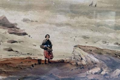 Antique Watercolour Painting of a Coastal Scene by George Robert Vawser - c. 1830's-40's in Original Decorative Gilt Frame - Closeup View 2