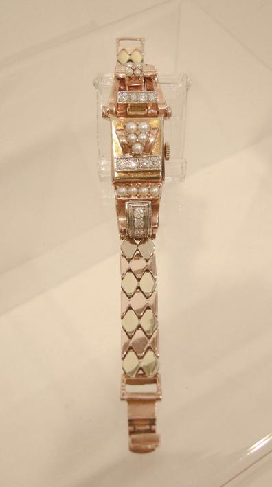Ladies 14K Two-Color Gold Pearl and Diamond Covered Cocktail Watch - Top View