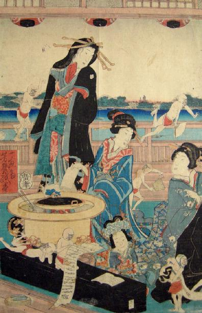 Antique Japanese Woodblock Oban Tate-e Comical (Giga-e) Print Triptych- Yoshiiku Utagawa-1860 - Center Closeup View