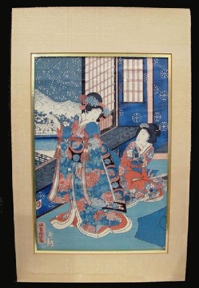 Antique Japanese Woodblock Print - Yoshitora-1962- Setsugekka no uchi (Snow, Moon and Flowers) - View with Mat