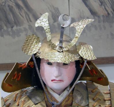 Large Antique Japanese Musha-e Ningyo (Warrior) Doll for the Boys' Day Festival - Minamoto no Yoshitune - View of Face and Kubuto(Helmet)