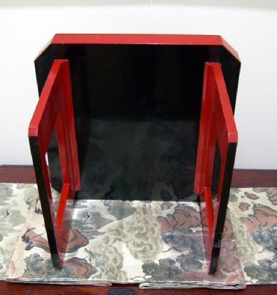 Antique Japanese Red Lacquer Wood-Tray-Table ( Zen )- Late Meiji/early Taisho Period - Bottom View