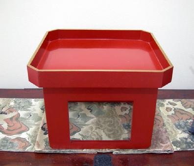 Antique Japanese Red Lacquer Wood-Tray-Table ( Zen )- Late Meiji/early Taisho Period - Left Side View