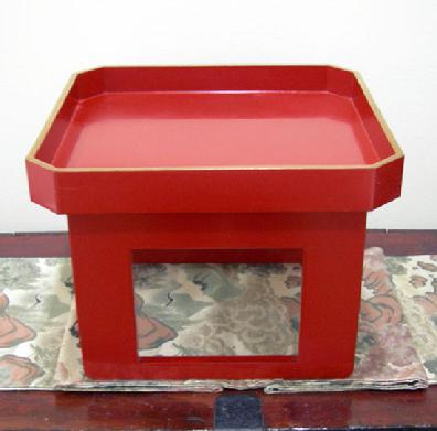 Antique Japanese Red Lacquer Wood-Tray-Table ( Zen )- Late Meiji/early Taisho Period - Right Side View