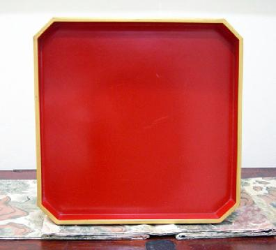 Antique Japanese Red Lacquer Wood-Tray-Table ( Zen )- Late Meiji/early Taisho Period - Top View