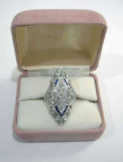 Art Deco Platinum, Diamond and Sapphire Dinner/Cocktail Ring