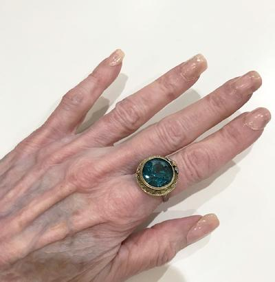Antique Art Nouveau 14K Three Color Gold and Blue Topaz Ring - ESTATE - Wearable View