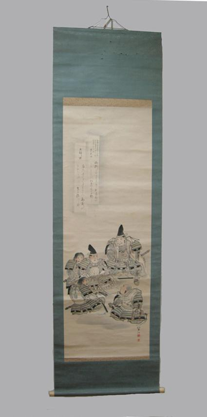 Old Japanese Musha-e (Warrior) Scroll - 5 Samurai- Hand-Drawn