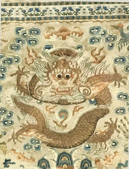 Fine Antique Chinese Hand-Embroidered Silk Framed Dragon Panel - Qing- Closeup View of the Dragon