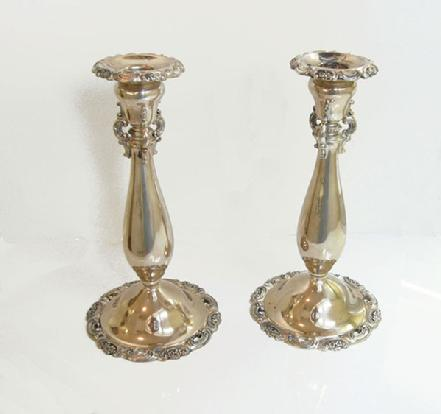 Pair 'Baroque' Silverplate Candlesticks - 1941 - Alternate View