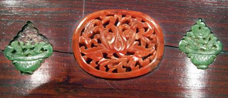 Old Chinese Wood Box Inlaid with Carnelian Agate and Spinach Jade - Closeup View of Carvings