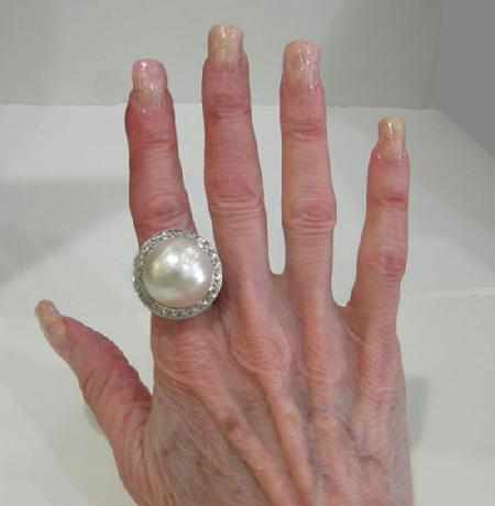Large 14K WG Mabe Pearl and Diamond Ring-20mm - Estate- 1950's