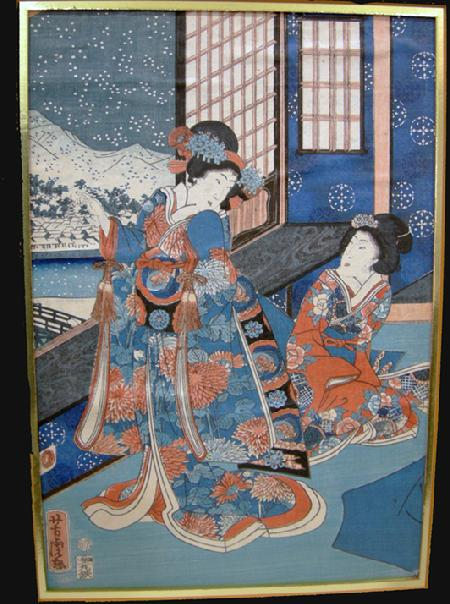 Antique Japanese Woodblock Print - Yoshitora-1962- Setsugekka no uchi (Snow, Moon and Flowers)