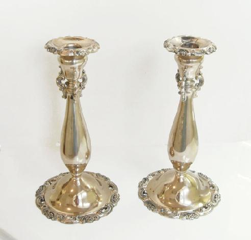 Pair 'Baroque' Silverplate Candlesticks - 1941