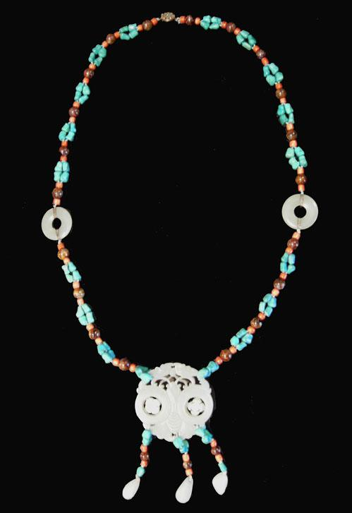 Turquoise, Coral and Agate Necklace with Carved Double Jade Prayer Wheel