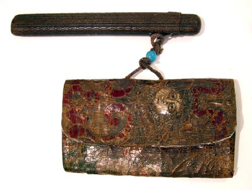 Japanese Meiji Period Hand Tooled Polychromed Leather Tobako-ire / Ojime/ Kizeruzutsu