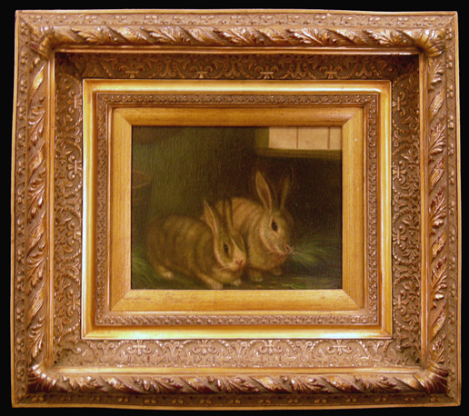 Oil Painting on Canvas of Two Rabbits