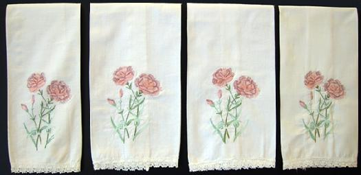 Four Vintage Embroidered Floral Guest Towels