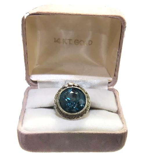 Antique Art Nouveau 14K Three Color Gold and Blue Topaz Ring - ESTATE