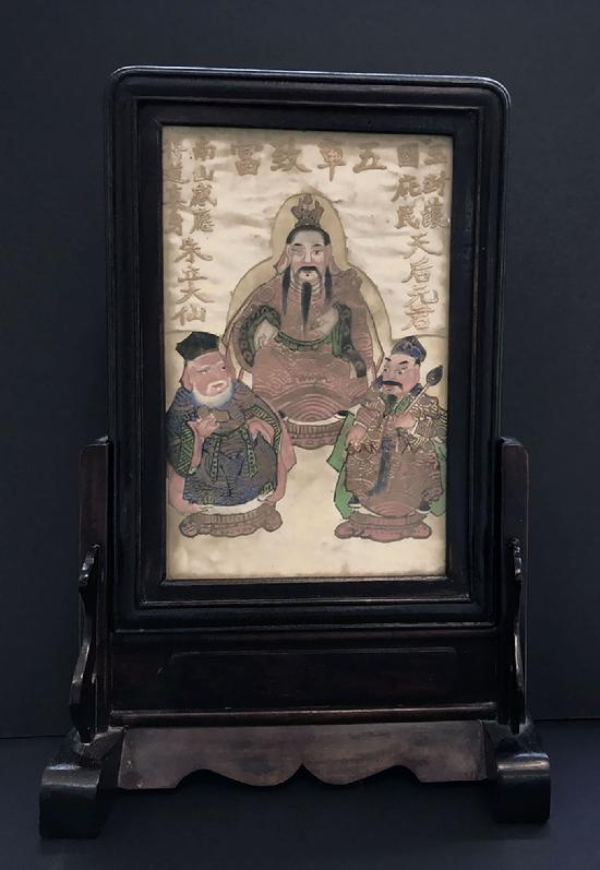 Fine Antique Chinese Paper and Silk Painting in a Two-Part Rosewood Frame