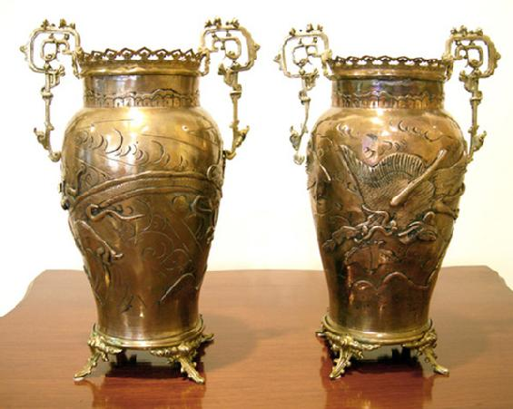 Pair of French Bronze-Mounted Japanese Brass Vases