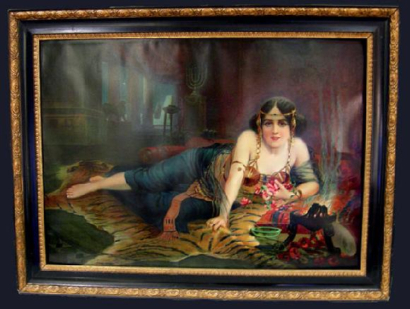 Antique Cleopatra Print in Elaborate Ebony Wood and Gilt Frame