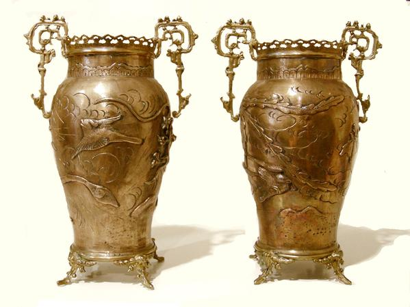 Pair of French Bronze-Mounted Japanese Brass Vases - Reverse View
