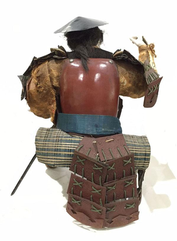 Large Antique Japanese Musha-e Retainer/ Standard Bearer Doll With Banner - Reverse  View