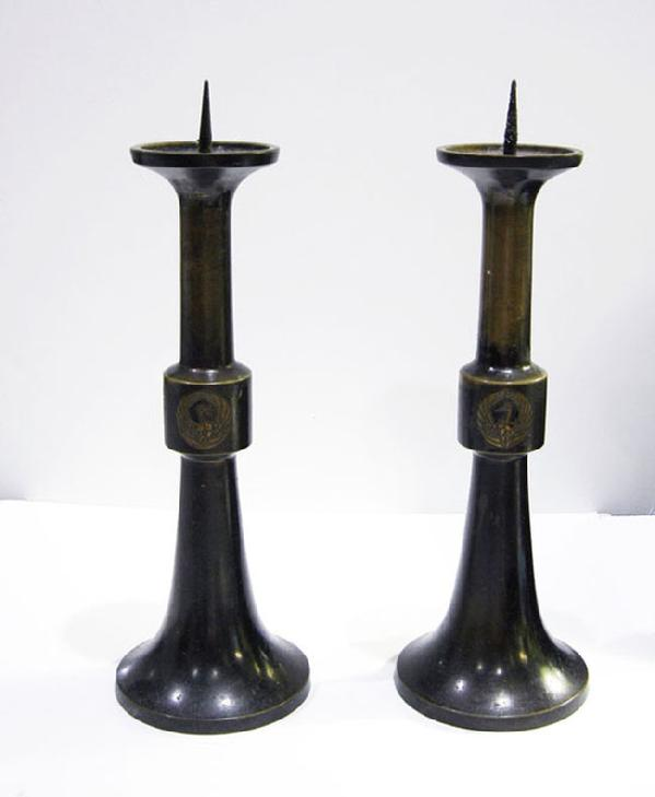 Antique Japanese Bronze Buddhist Altar Pricket Candlesticks