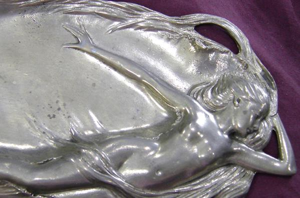 Art Nouveau Pewter Calling Card or JewelryTray with Reclining Nude- Closeup View