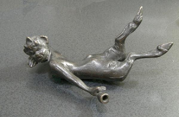 Old Bronze or Bronze-Washed Metal Figure of an Inebriated Satyr