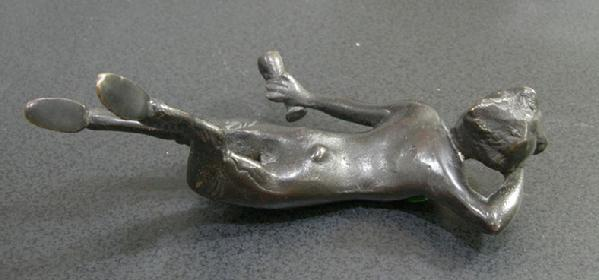 Old Bronze or Bronze-Washed Metal Figure of an Inebriated Satyr - Back View