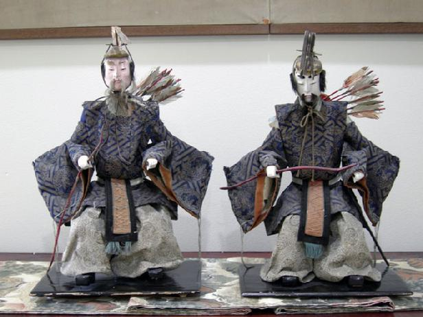 Antique Japanese Zuijin Dolls (Sa-daijin and U-daijin) Ministers of the Left and Right