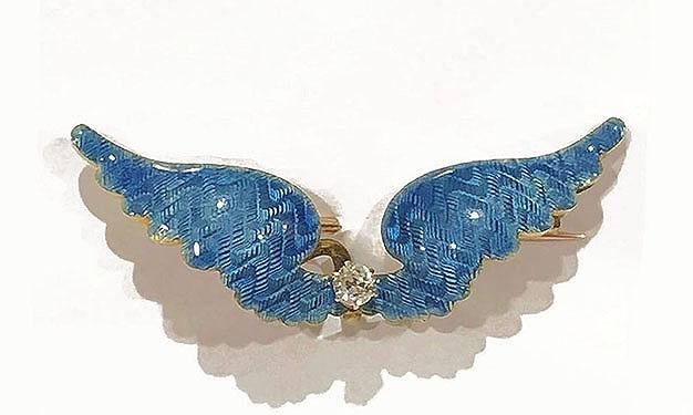 Antique Franch 14K Yellow Gold and Diamond Blue Guilloche Enamel Brooch/Watch Pin