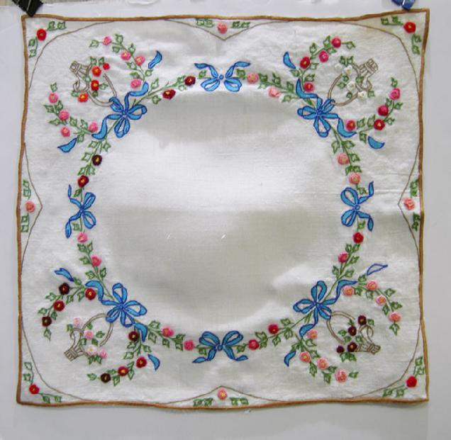Antique Hand-Embroidered Linen Topper - 1930's