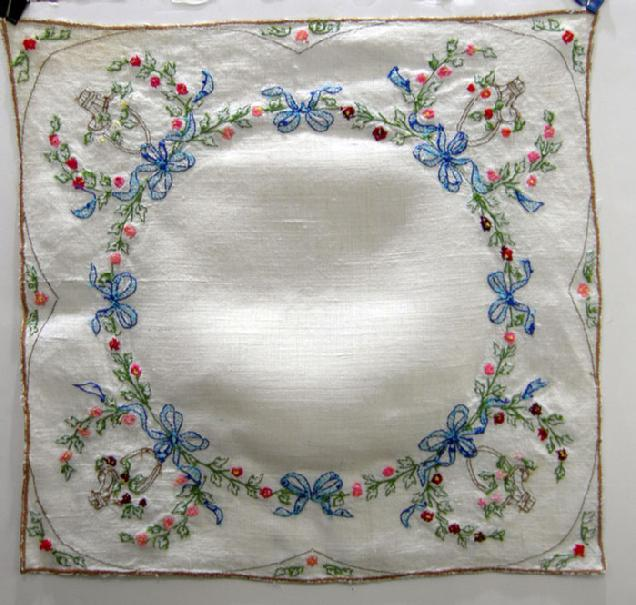 Antique Handl-Embroidered Linen Topper - 1930's - Reverse View