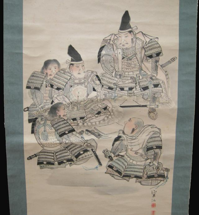 Old Japanese Musha-e (Warrior) Scroll - 5 Samurai- Hand-Drawn - Closeup View