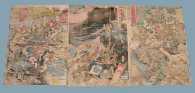 19th c. Japanese Woodblock Battle Triptych Kuniyoshi - Reverse