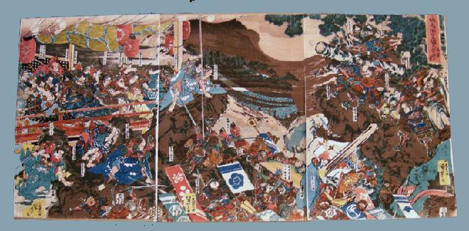 19th c. Japanese Woodblock Print Kuniyoshi Battle Triptych
