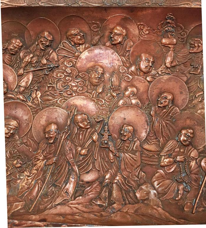 Antique Japanese Copper Over Metal Tray With Arhats - Closeup View 3
